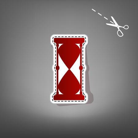 fifteen: Hourglass sign illustration. Vector. Red icon with for applique from paper with shadow on gray background with scissors.