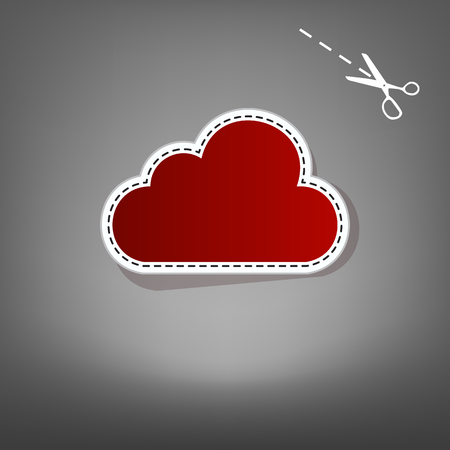 Cloud sign illustration. Vector. Red icon with for applique from paper with shadow on gray background with scissors.