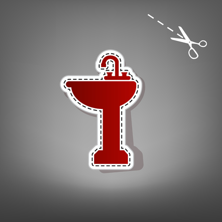 Bathroom sink sign. Vector. Red icon with for applique from paper with shadow on gray background with scissors.