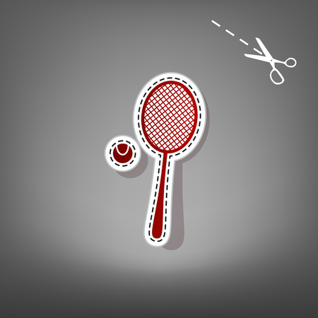 Tennis racquet with ball sign. Vector. Red icon with for applique from paper with shadow on gray background with scissors. Illustration