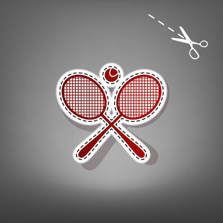 Tennis racket sign. Vector. Red icon with for applique from paper with shadow on gray background with scissors. Ilustração
