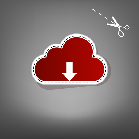 Cloud technology sign. Vector. Red icon with for applique from paper with shadow on gray background with scissors.