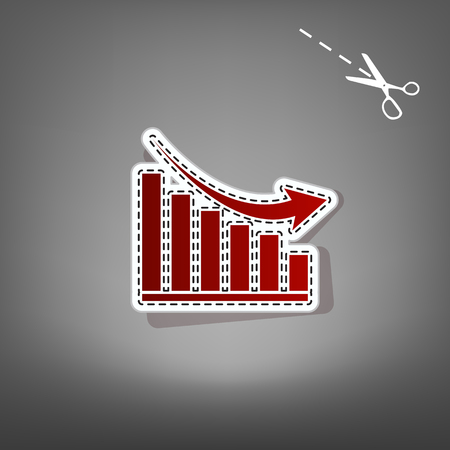 Declining graph sign. Vector. Red icon with for applique from paper with shadow on gray background with scissors. Illustration