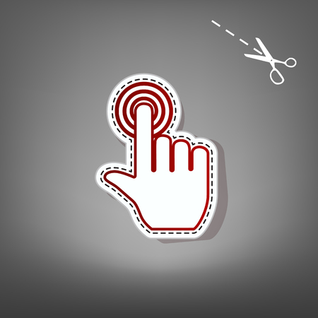 Hand click on button. Vector. Red icon with for applique from paper with shadow on gray background with scissors. Illustration