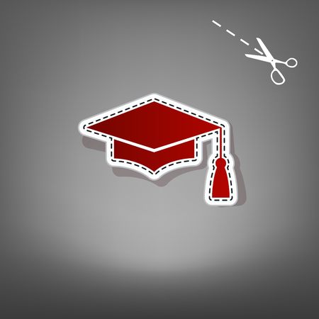 Mortar Board or Graduation Cap, Education symbol. Vector. Red icon with for applique from paper with shadow on gray background with scissors.
