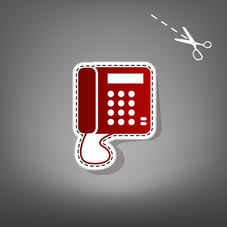 old phone: Communication or phone sign. Vector. Red icon with for applique from paper with shadow on gray background with scissors.