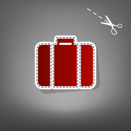 Briefcase sign illustration. Vector. Red icon with for applique from paper with shadow on gray background with scissors. Illustration