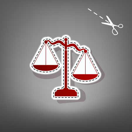Scales of Justice sign. Vector. Red icon with for applique from paper with shadow on gray background with scissors. Illustration