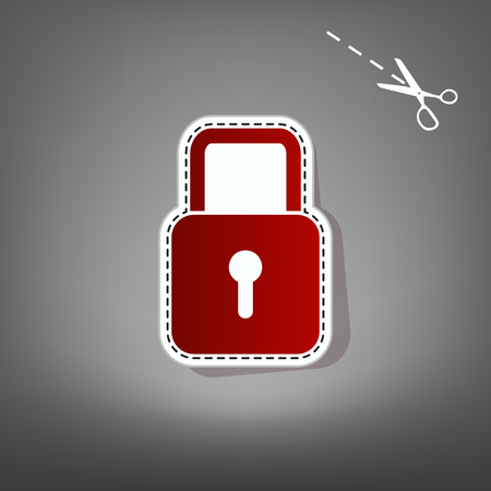 grey background texture: Lock sign illustration. Vector. Red icon with for applique from paper with shadow on gray background with scissors. Illustration