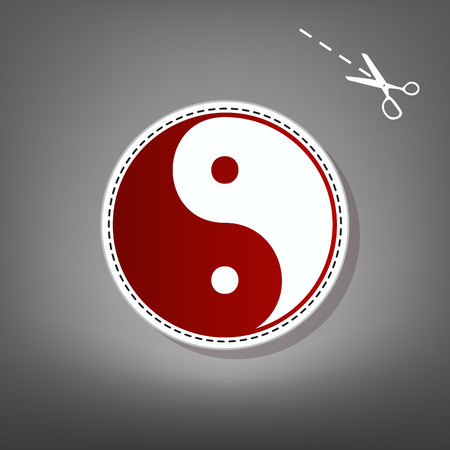 Ying yang symbol of harmony and balance. Vector. Red icon with for applique from paper with shadow on gray background with scissors.