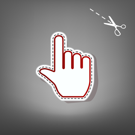 Hand sign illustration. Vector. Red icon with for applique from paper with shadow on gray background with scissors. Stock Photo