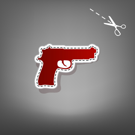 Gun sign illustration. Vector. Red icon with for applique from paper with shadow on gray background with scissors.
