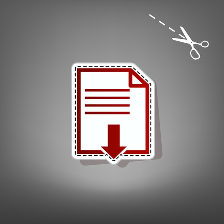 File download sign. Vector. Red icon with for applique from paper with shadow on gray background with scissors. Stock Photo