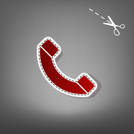 Phone sign illustration. Vector. Red icon with for applique from paper with shadow on gray background with scissors.