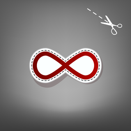 simbolos matematicos: Limitless symbol illustration. Vector. Red icon with for applique from paper with shadow on gray background with scissors.