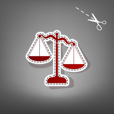 Zeichen der Gerechtigkeit Zeichen. Vektor. Rote Ikone mit für Applikation vom Papier mit Schatten auf grauem Hintergrund mit Scheren. Standard-Bild