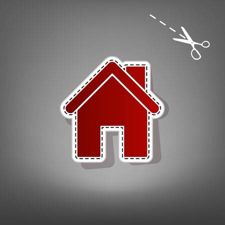 Home silhouette illustration. Vector. Red icon with for applique from paper with shadow on gray background with scissors.