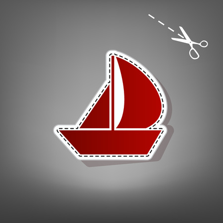 Sail Boat sign. Vector. Red icon with for applique from paper with shadow on gray background with scissors.