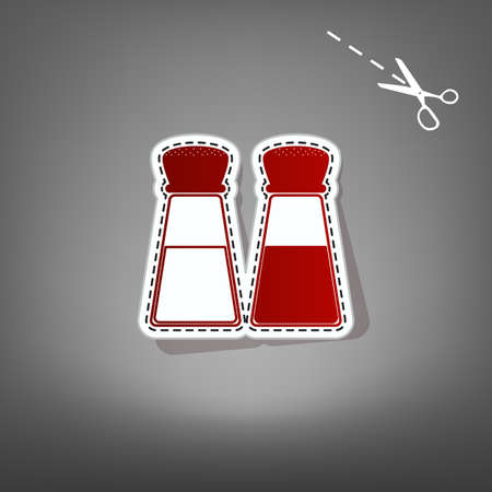 Salt and pepper sign. Vector. Red icon with for applique from paper with shadow on gray background with scissors.