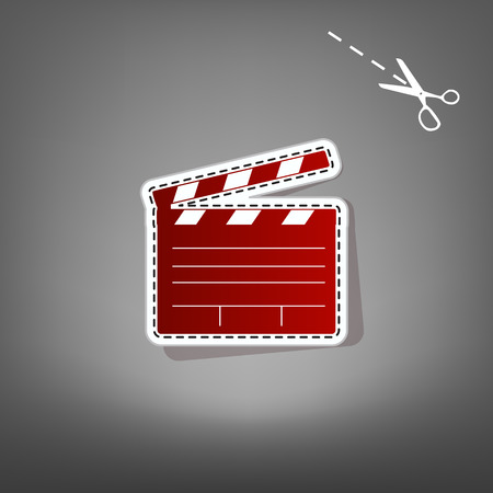flick: Film clap board cinema sign. Vector. Red icon with for applique from paper with shadow on gray background with scissors.