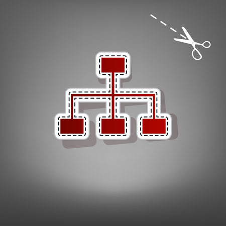 Site map sign. Vector. Red icon with for applique from paper with shadow on gray background with scissors.