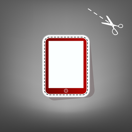 sensitive: Computer tablet sign. Vector. Red icon with for applique from paper with shadow on gray background with scissors.