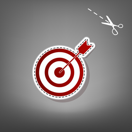Target with dart. Vector. Red icon with for applique from paper with shadow on gray background with scissors.
