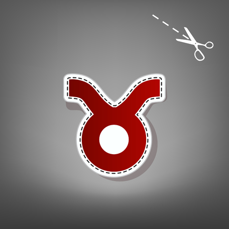 Taurus sign illustration. Vector. Red icon with for applique from paper with shadow on gray background with scissors.