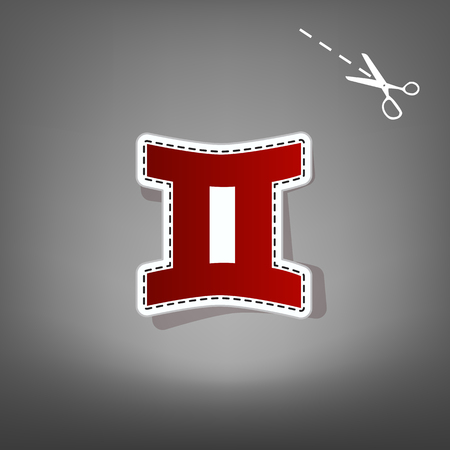 Gemini sign. Vector. Red icon with for applique from paper with shadow on gray background with scissors.