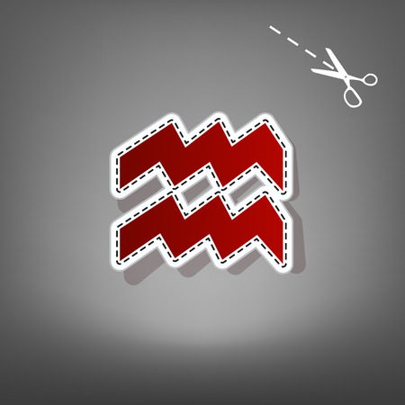 Aquarius sign illustration. Vector. Red icon with for applique from paper with shadow on gray background with scissors. Illustration