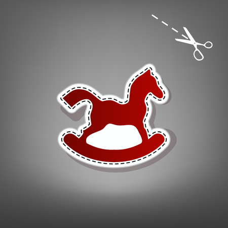 paper sculpture: Horse toy sign. Vector. Red icon with for applique from paper with shadow on gray background with scissors. Illustration