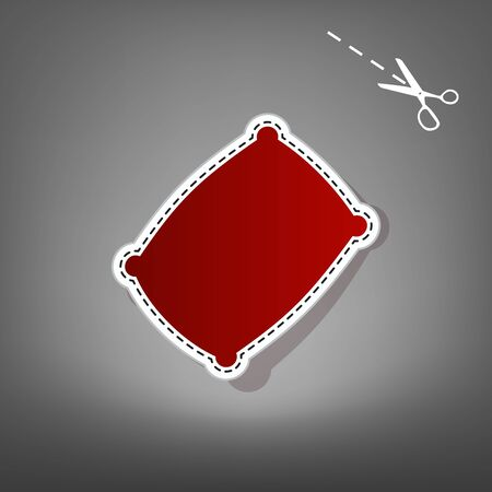 Pillow sign illustration. Vector. Red icon with for applique from paper with shadow on gray background with scissors.