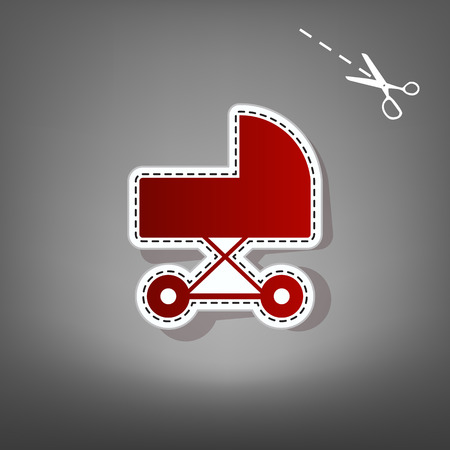 Pram sign illustration. Vector. Red icon with for applique from paper with shadow on gray background with scissors.