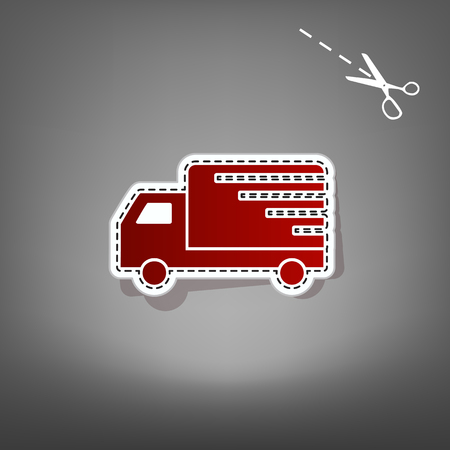 auto service: Delivery sign illustration. Vector. Red icon with for applique from paper with shadow on gray background with scissors.