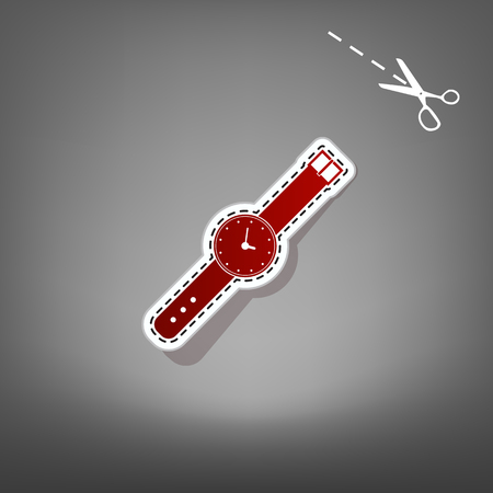 Watch sign illustration. Vector. Red icon with for applique from paper with shadow on gray background with scissors.