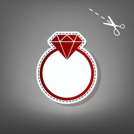 retro woman: Diamond sign illustration. Vector. Red icon with for applique from paper with shadow on gray background with scissors.