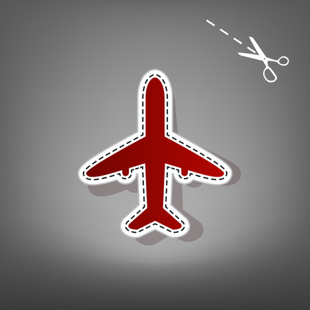 Airplane sign illustration. Vector. Red icon with for applique from paper with shadow on gray background with scissors. Illustration