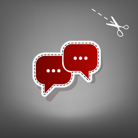 Speech bubbles sign. Vector. Red icon with for applique from paper with shadow on gray background with scissors.