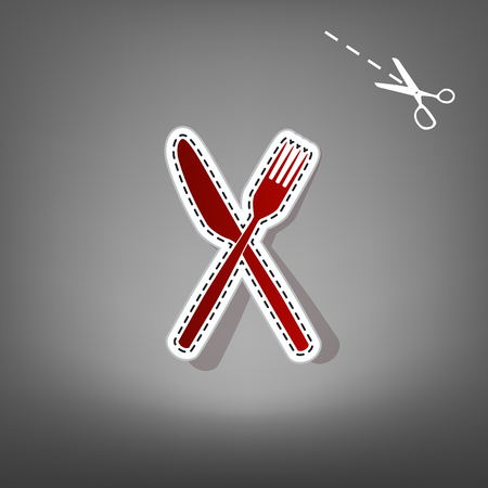 Fork and Knife sign. Vector. Red icon with for applique from paper with shadow on gray background with scissors.