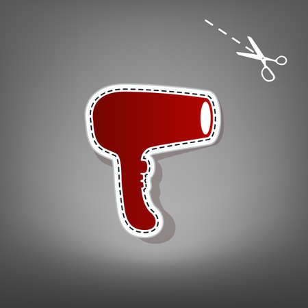 Hair Dryer sign. Vector. Red icon with for applique from paper with shadow on gray background with scissors. Stock Photo