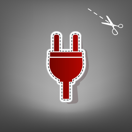Socket sign illustration. Vector. Red icon with for applique from paper with shadow on gray background with scissors.