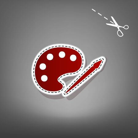 Palette and paint brush sign. Vector. Red icon with for applique from paper with shadow on gray background with scissors.