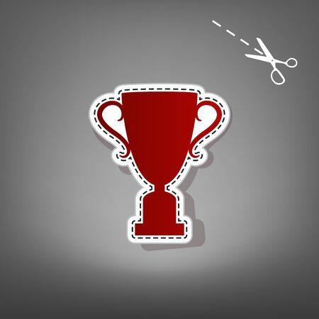 victor: Champions Cup sign. Vector. Red icon with for applique from paper with shadow on gray background with scissors.
