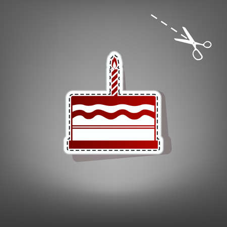 carretto gelati: Birthday cake sign. Vector. Red icon with for applique from paper with shadow on gray background with scissors.