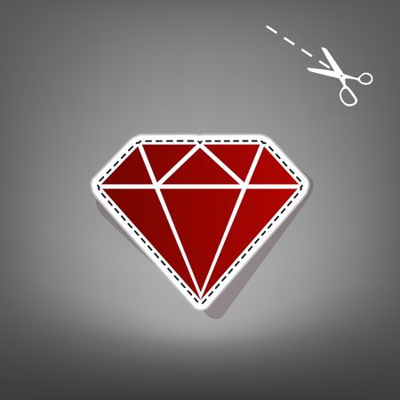 Diamond sign illustration. Vector. Red icon with for applique from paper with shadow on gray background with scissors.