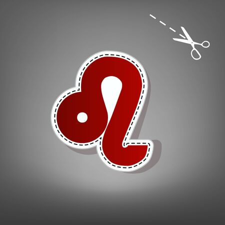 Leo sign illustration. Vector. Red icon with for applique from paper with shadow on gray background with scissors. Stock Photo