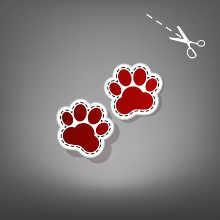 grey cat: Animal Tracks sign. Vector. Red icon with for applique from paper with shadow on gray background with scissors.