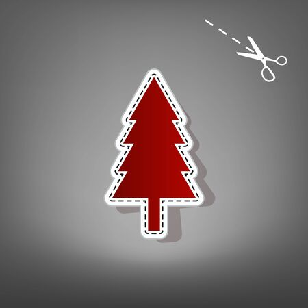 New year tree sign. Vector. Red icon with for applique from paper with shadow on gray background with scissors.
