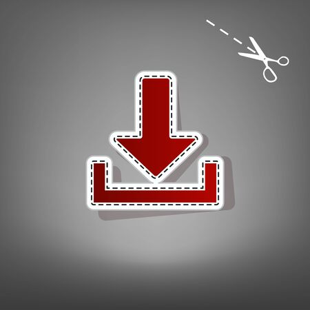 Download sign illustration. Vector. Red icon with for applique from paper with shadow on gray background with scissors.
