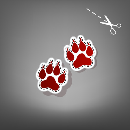 Animal Tracks sign. Vector. Red icon with for applique from paper with shadow on gray background with scissors.